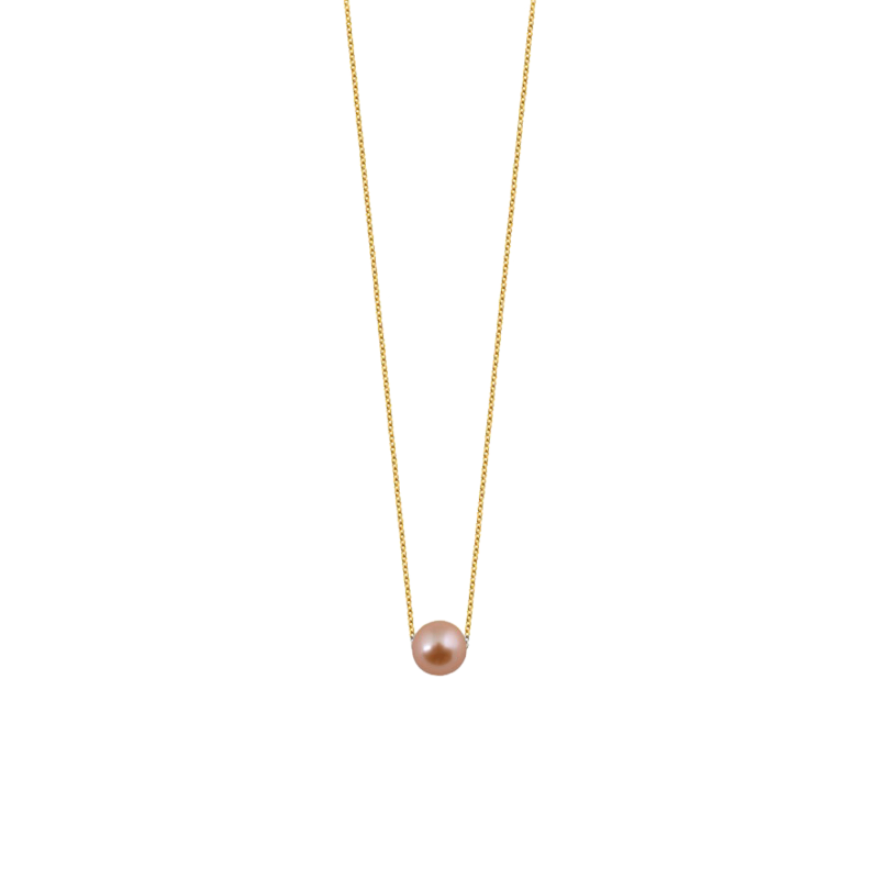 Collier Claverin Simply Pearly en or jaune et perle rose 7 mm