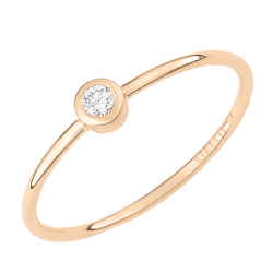 Bague Ginette NY Lonely Diamond en or rose et diamant