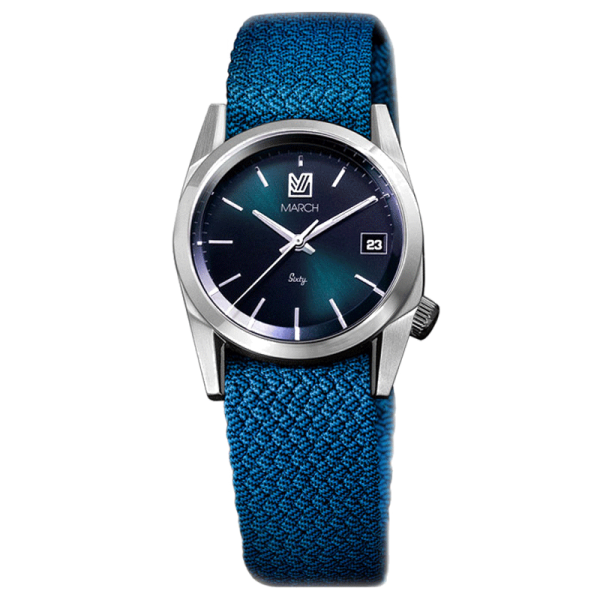 Montre March LA.B Sixty 9 Electric bracelet NATO Perlon Azur 32 mm