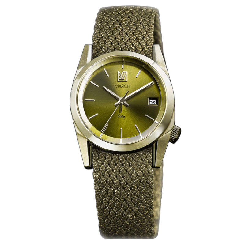 Montre March LA.B Sixty 8 Electric bracelet NATO Perlon Gold 32 mm