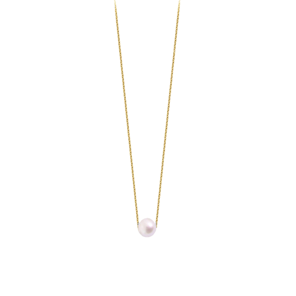 Collier Claverin Simply Pearly en or jaune et perle blanche 7 mm