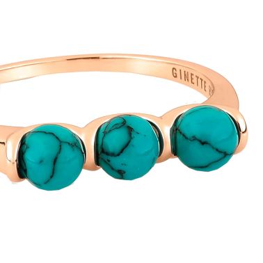 Bague Ginette NY Maria 3 Bead en or rose et turquoise