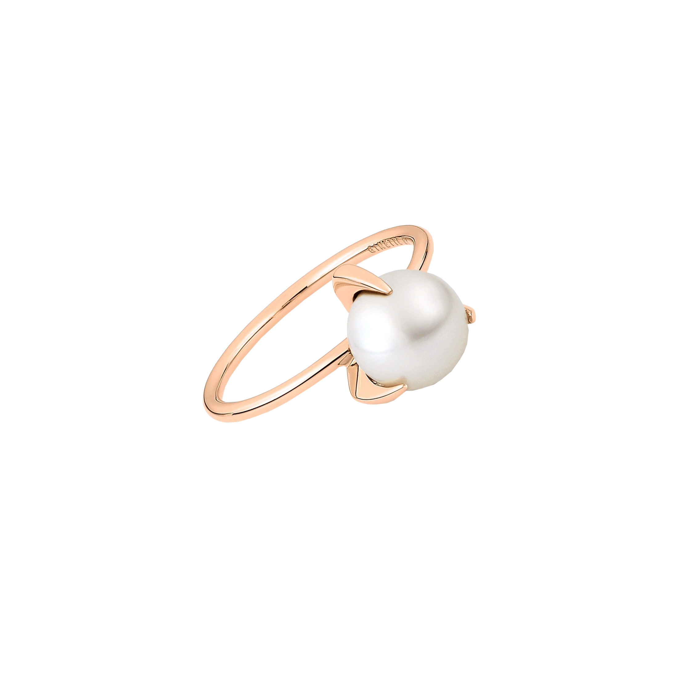 Bague Ginette NY Maria Single Bead en or rose et perle