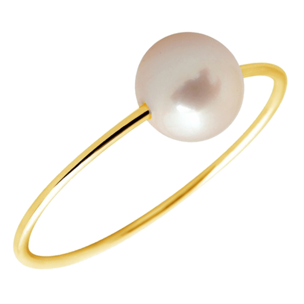 bague or perle blanche