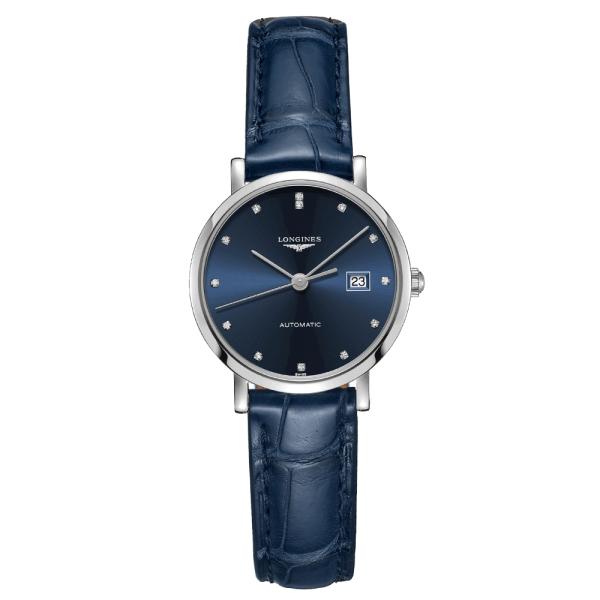 Montre Longines Elegant Collection automatique cadran bleu index diamants 29 mm