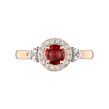 Solitaire Lepage Pompadour en or rose rubis et diamants