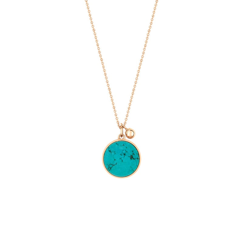 Collier Ginette NY Ever Disc en or rose et turquoise