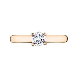 Solitaire Lepage Evidence en or rose et diamant - Top