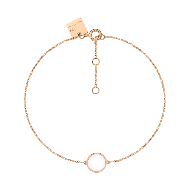 Bracelet Ginette NY Mini Ever Disc en or rose et agate