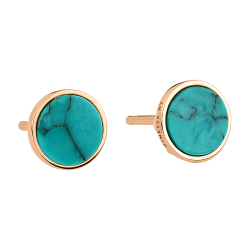 Puces d'oreilles Ginette NY Ever Disc en or rose et turquoise