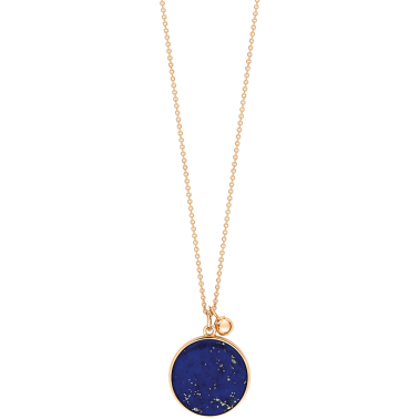 Collier Ginette Ny Ever on chain en or rose et lapis lazuli