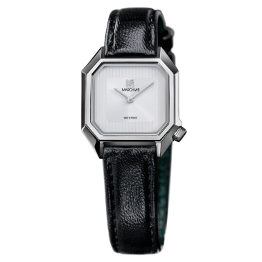 Montre March LA.B Lady Mansart White quartz bracelet cuir noir