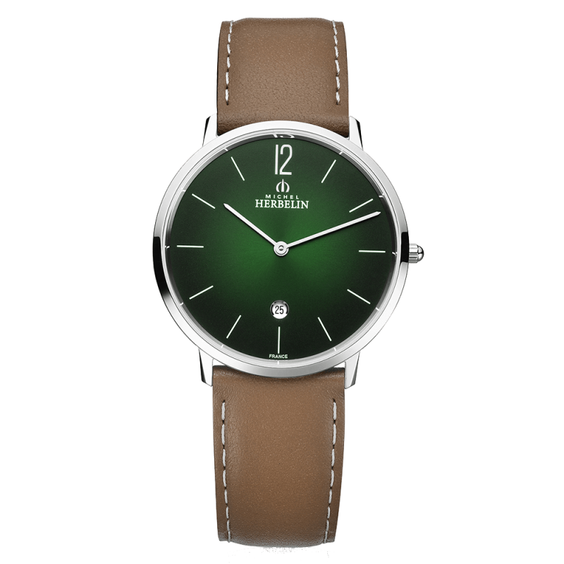 Montre Michel Herbelin City quartz cadran vert bracelet cuir brun 38,7 mm