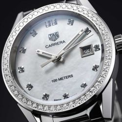 Montre TAG Heuer Carrera Lady quartz cadran nacre blanche index diamants lunette sertie 36 mm - SITE1