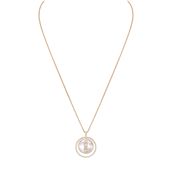 Necklace Messika Lucky Move medium size model in pink gold white mother-of-pearl and diamonds
