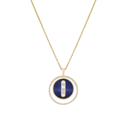 Necklace Messika Lucky Move medium size model in yellow gold lapis lazuli and diamonds