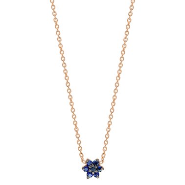 Ginette NY Star Mini necklace in pink gold and sapphire