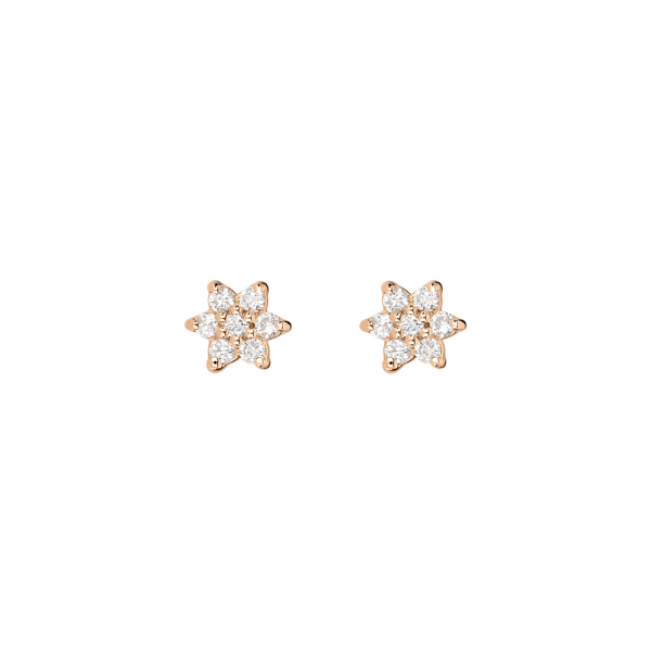 Boucles d'oreilles Ginette NY Star Mini en or rose et diamants