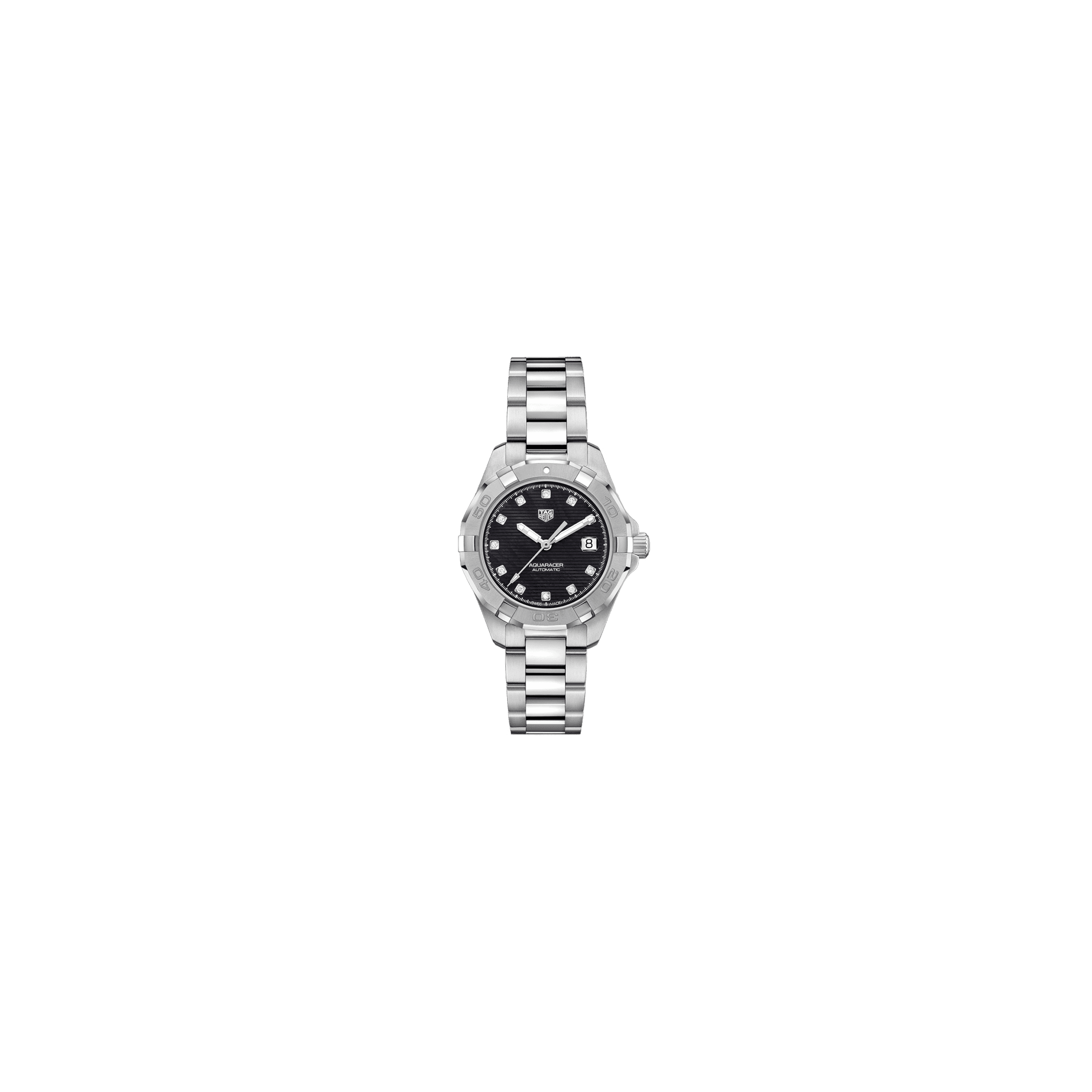 Montre TAG Heuer Aquaracer Calibre 9 cadran noir index diamants bracelet acier 32 mm - SOLDAT PL