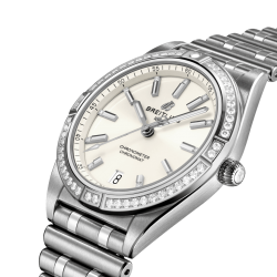 Breitling Chronomat Lady Automatic watch white dial bezel and diamond hour markers 36 mm