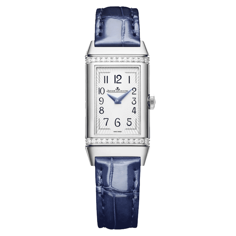 Jaeger LeCoultre Reverso One Duetto automatic watch silver dial blue leather strap