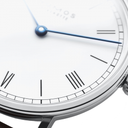 NOMOS Ludwig 33 Duo mechanical watch white enamel dial sapphire back brown leather strap 32.8 mm 249