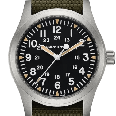 Hamilton Khaki Field mechanical watch with manual winding black dial green textile strap 42 mm H69529933