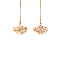 Boucles d'oreilles Ginette NY Gingko en or rose - Zoom