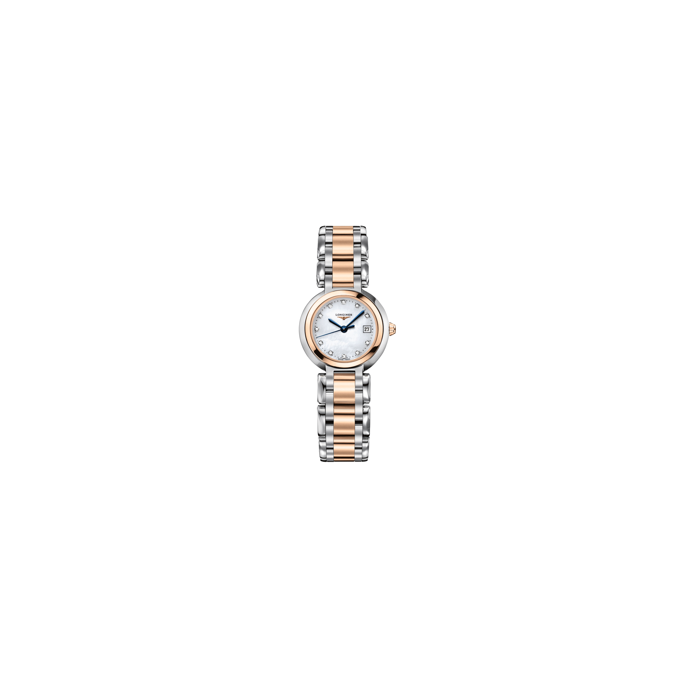 Montre Longines Primaluna quartz cadran nacre index diamants bracelet acier et or rose 26,5 mm - SOLDAT PL