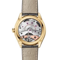 Omega De Ville Trésor Co-Axial Master Chronometer Power Reserve Yellow gold watch Silver dial Grey leather strap 40 mm 435.53.40