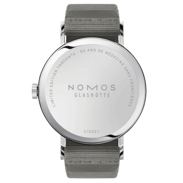 Nomos Tangente 38 - 50 years of Médecins Sans Frontières Limited edition 2021 ex. automatic white dial grey textile strap 165.S5