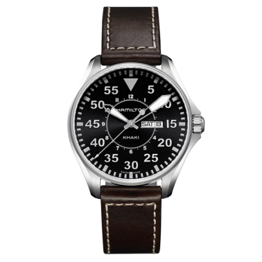 Montre Hamilton Khaki Aviation Pilot Day Date cadran noir 42 mm - SOLDAT PL