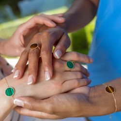 Lepage Colette Lune Perlée ring yellow gold and malachite