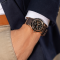 Seiko Presage automatic watch open heart black dial brown fabric strap 40,8 mm