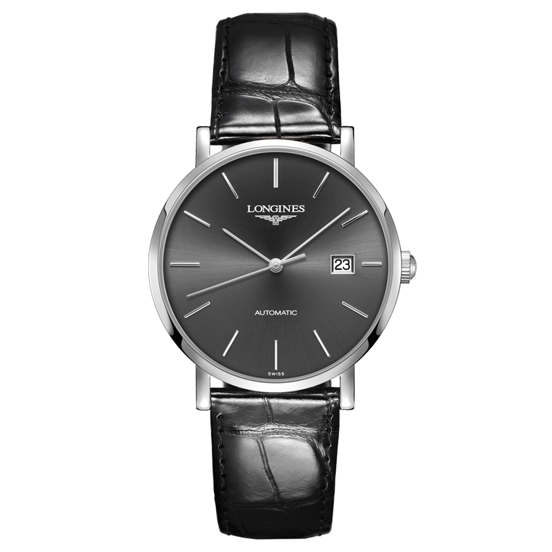 Montre Longines Elegant Collection automatique cadran gris bracelet cuir noir 39 mm - SOLDAT PL