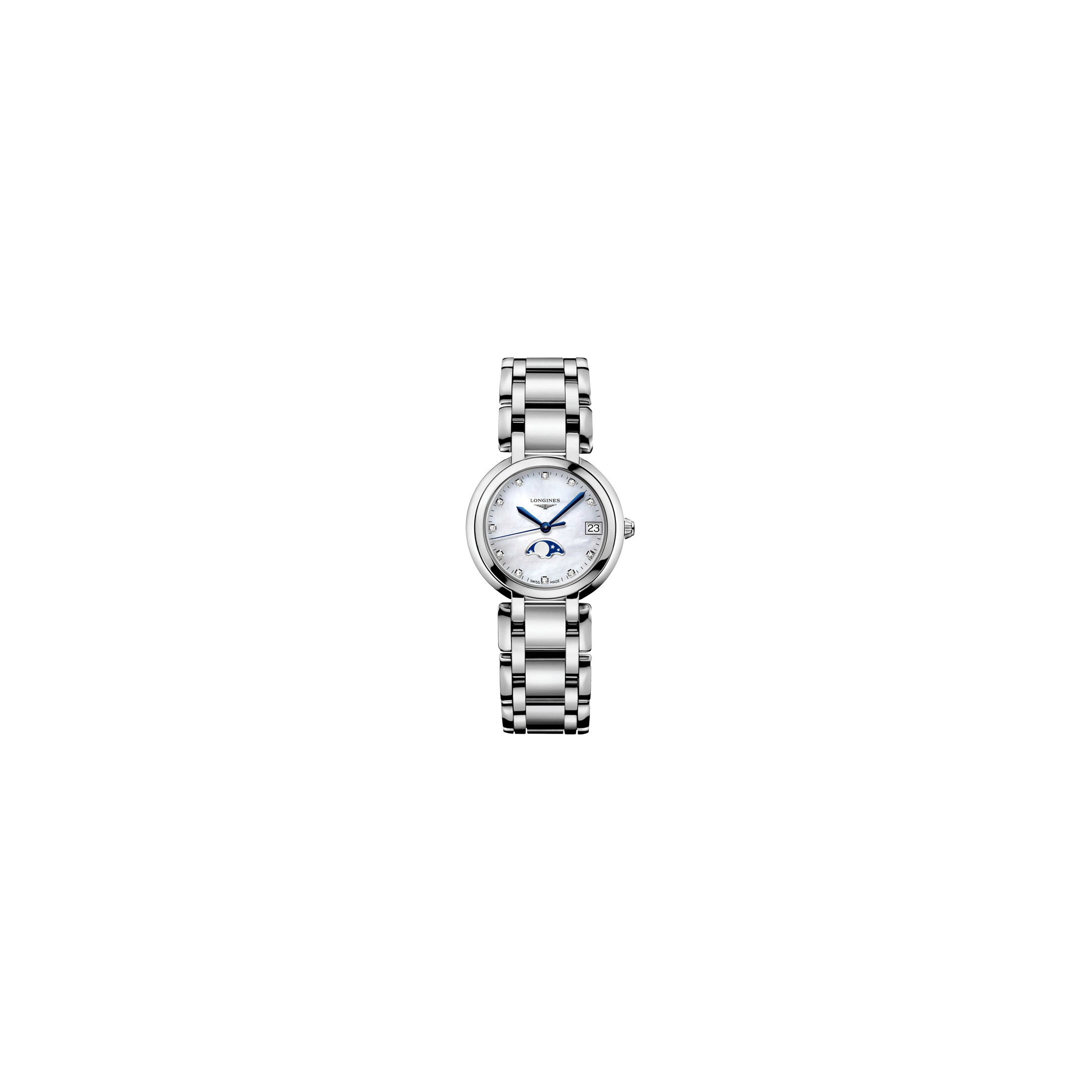 Montre Longines Primaluna quartz cadran nacre index diamants bracelet acier 30,5 mm - SOLDAT PL