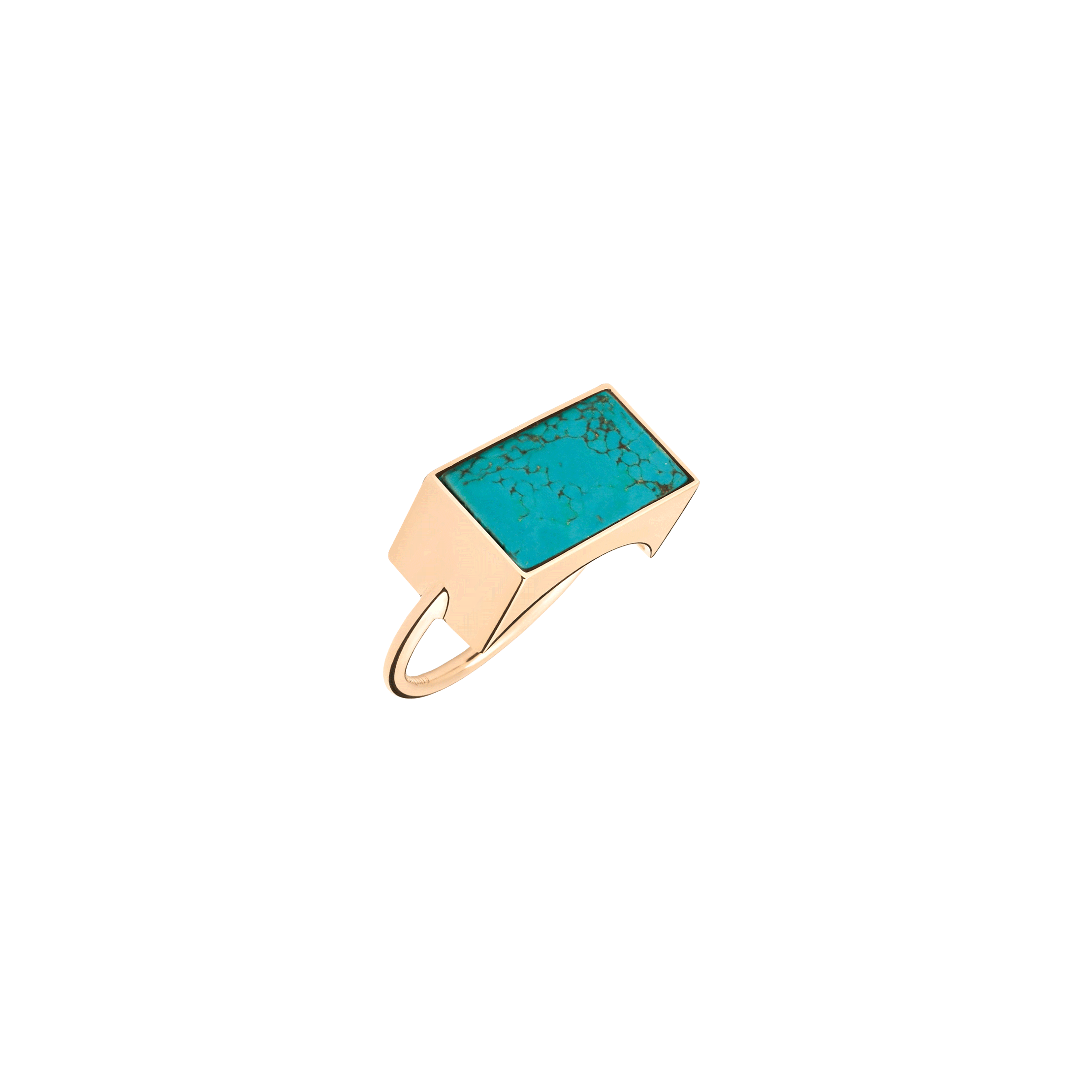 Bague Ginette NY Rectangle Ever en or rose et turquoise