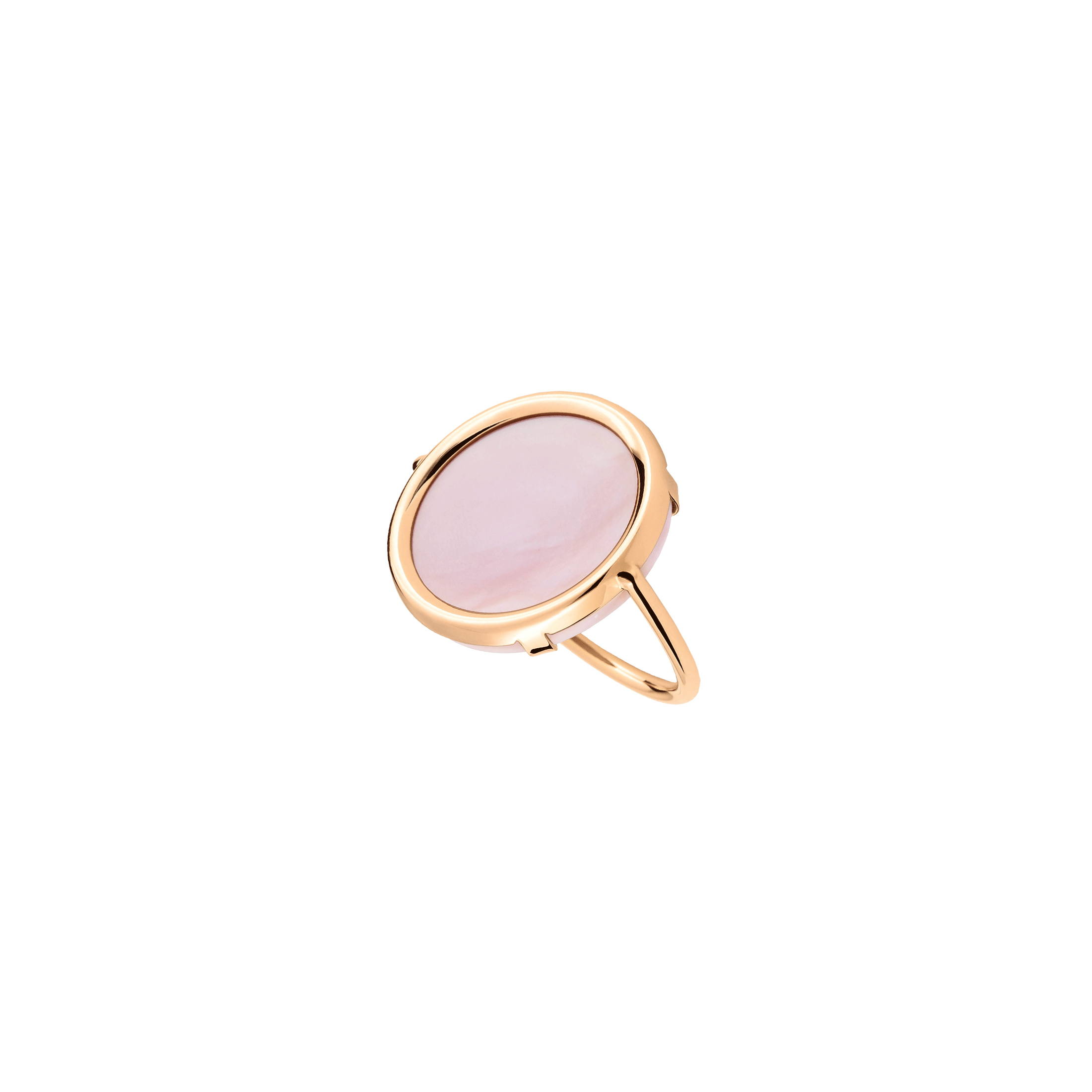 Bague Ginette NY Disc en or rose et nacre rose