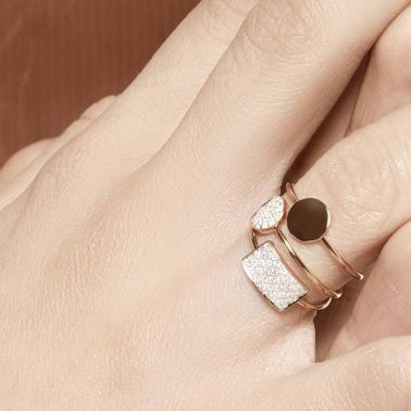 Bague Ginette NY Mini Ever rectangle en or rose et diamants