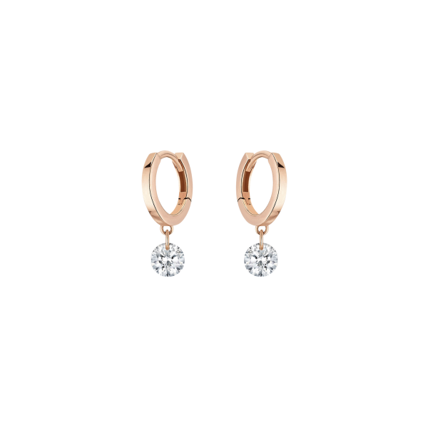 super mignon 5ed66 66a10 Mini créoles La Brune et La Blonde 360° en or rose 2 diamants taille  brillant 2 x 0,10 carat