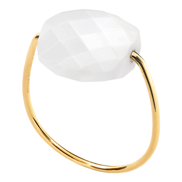 Bague Morganne Bello Friandise agate blanche taille coussin et or jaune