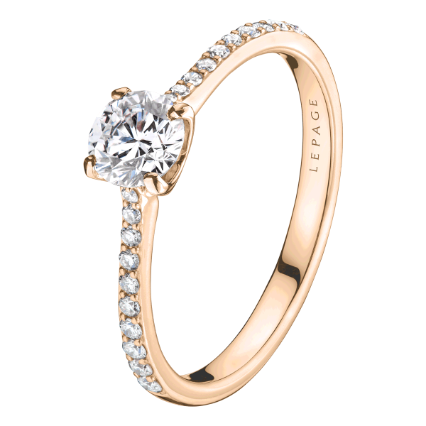 Solitaire Lepage Demoiselle en or rose diamants