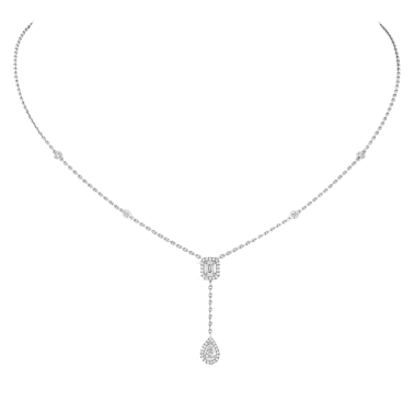Collier Messika My Twin Cravate en or blanc et diamants 0,10 carat
